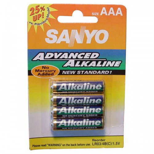 Pack de 4 Piles alcalines AAA - SANYO puissance 1.5 Volts