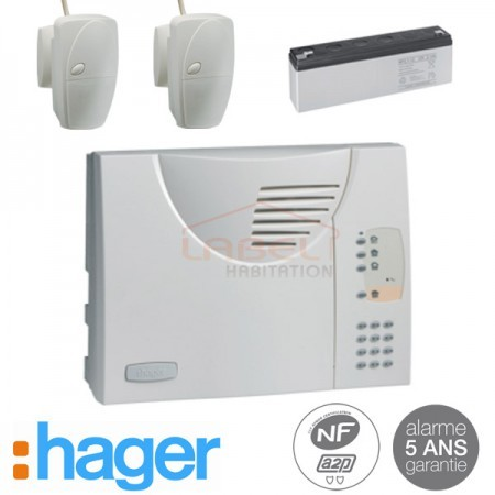 Alarme kit filaire gestion 2 zones HAGER - Logisty Serenity SK332-22F