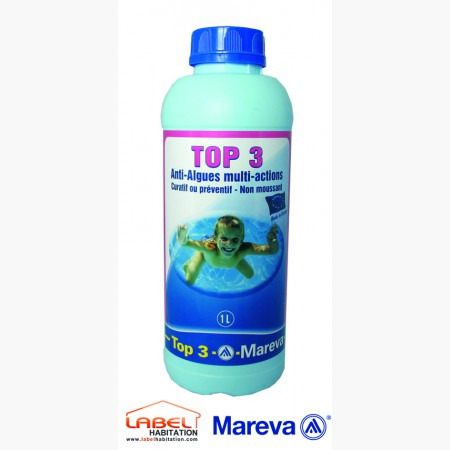 traitement anti algue piscine – MAREVA – Top 3 Algicide multi-actions non moussant 1L