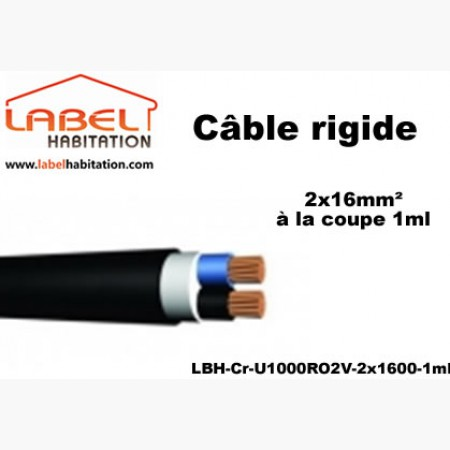 Câble d'alimentation U1000 RO2V rigide - 2x16 mm² à la coupe - 1ml
