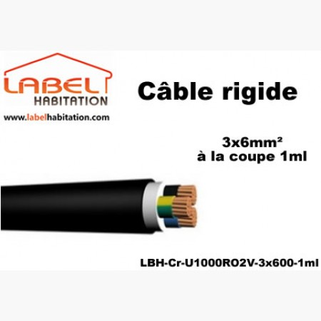 Câble d'alimentation U1000 RO2V rigide - 3x6 mm² à la coupe - 1ml