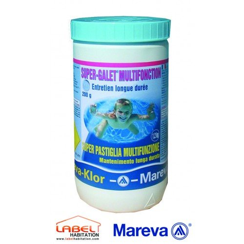 Traitement chlore piscine - MAREVA – Reva-Klor Galets Chlore Multi-actions 200 g - 1,2kg