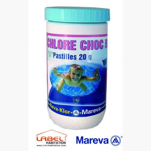 traitement chlore piscine mareva reva klor chlore choc 50 pastilles 20g 1kg. Black Bedroom Furniture Sets. Home Design Ideas