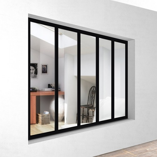 Kit verri re atelier aluminium 5 vitrages labelhabitation for Verriere interieure aluminium