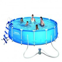 Piscine STEEL PRO FRAME POOL BESTWAY 4,57 x 0,91 m + Filtre à cartouche - 56434 - LabelHabitation
