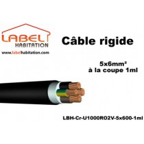 Câble d'alimentation U1000 RO2V rigide - 5x6 mm² à la coupe - 1ml